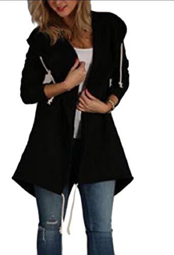 Howme-Women Skinny Fall Winter Hoode Cardigan Pure Color Coat Jacket Black
