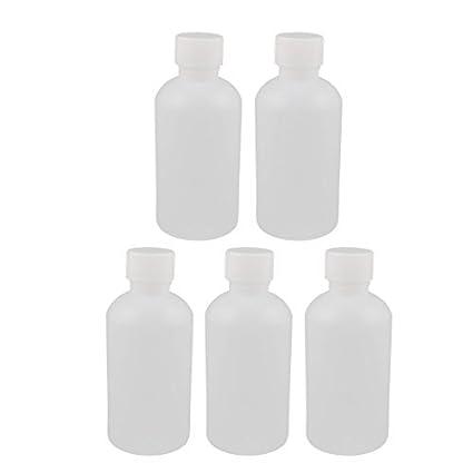 eDealMax 5 x 250ml plástico redondo Reactivo de Laboratorio de Botellas de muestra lacre de la