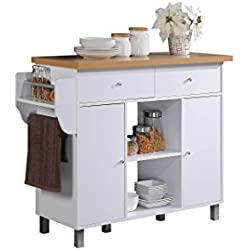 HODEDAH IMPORT HIK69 White Kitchen Island with Spice Rack & Towel Rack, White