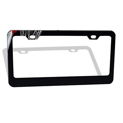 (Love beautiful Basketball Black License Plate Frame,Personalized Metal Aluminum Plate Cover UV and Water Resistant Permanent Print Aluminum Custom Metal Frame 2 Holes/2 Pack 12