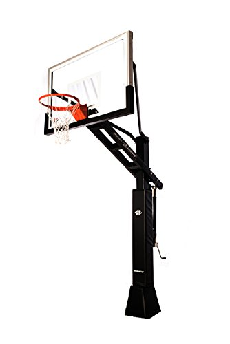 "Ryval C660 Basketball Hoop - 60"" Clear -View Tempered Glass Backboard, Height Adjustable for Children & Adults, In Ground Basketball Goal, Dual Spring Heavy Duty Flex Rim by Ryval Hoops"