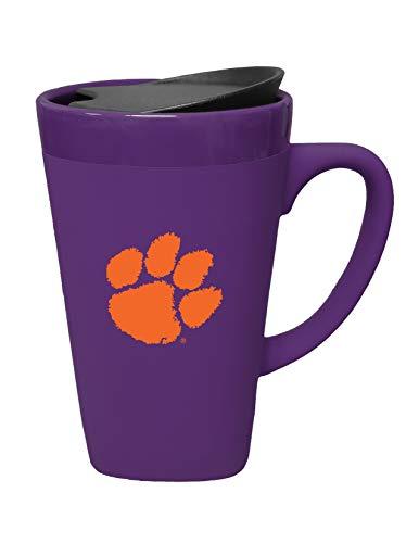 - The Fanatic Group Clemson Ceramic Mug with Swivel Lid, Design-1 - Purple