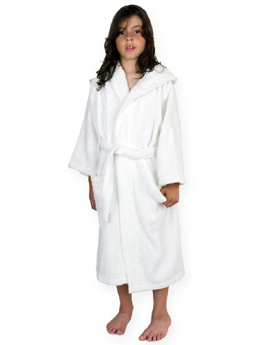 White Clothing Hood (TowelSelections Big Boys' Robe, Kids Hooded Cotton Terry Bathrobe Cover-up Size 8 White)