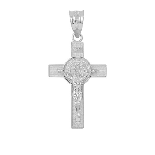 (Saint Collection 925 Sterling Silver St. Benedict Crucifix Cross Charm Pendant (1.30