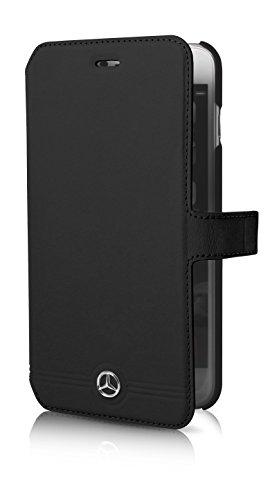 Mercedes-Benz Pure Line geprägten Linien Leder Booktype-Hülle für Apple iPhone 6 Plus/6S Plus schwarz