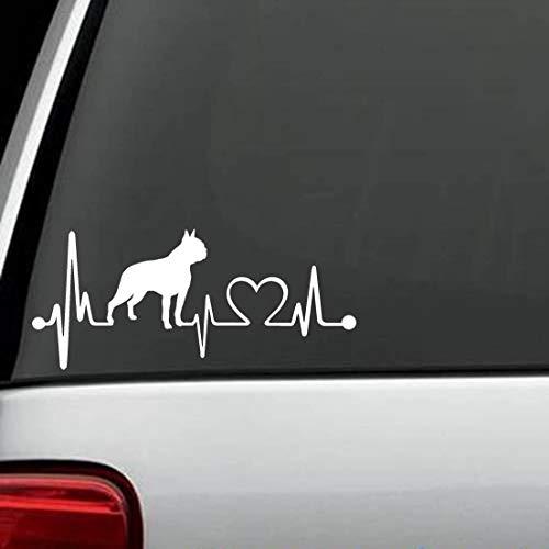 (CELYCASY K1030 Boston Terrier Heartbeat ? Lifeline Dog Decal Sticker)