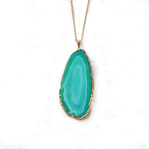The Hollow Geode Green Agate Pendant with 18