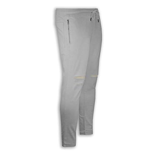 6e06affdb67f88 NEW Men White Twill Ripped Joggers Pants Jogger Stretch Elastic Drawstrings  best