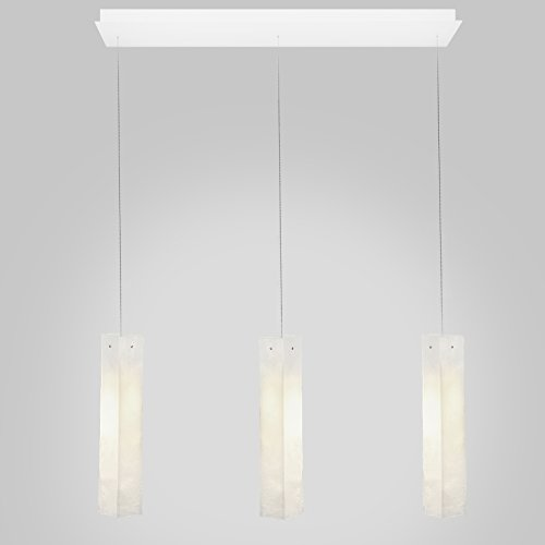 - 3 White Long Drops Led Rectangular Bar.Powder Coated Metal in Flat White/Sparkle Silver. Handmade by AM Studio