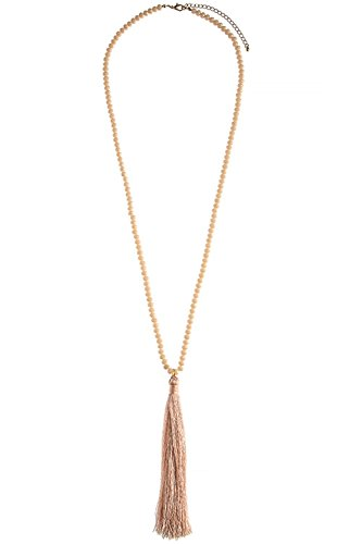 THE JEWEL RACK LONG FACETED BEAD TASSLE NECKLACE (LT PINK) (Custom Costume Hip Hop Jewelry)