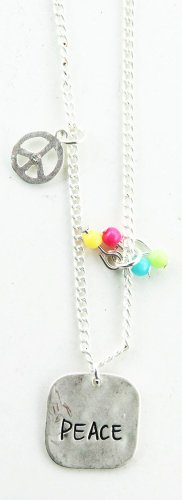 Necklace & Earring Set - Silver Tone - Inspire Peace Fashion Jewelry Set (Peace Sign Charm) (Tone Peace Necklace)