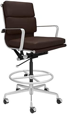 SOHO Soft Pad Drafting Chair – Ergonomically Designed and Commercial Grade Draft Height for Standing Desks Dark Brown