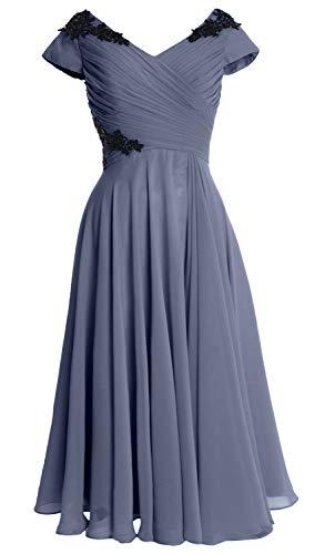 Steel Blue Party Macloth Dress Wedding Neck Of Women Bride Gown Midi Sleeve Cap V Mother qZOFqU