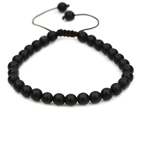 Natural Matt Black Agate Gemstone 6mm Round Beads Adjustable Braided Macrame Tassels Chakra Reiki Bracelets 7-9 inch Unisex