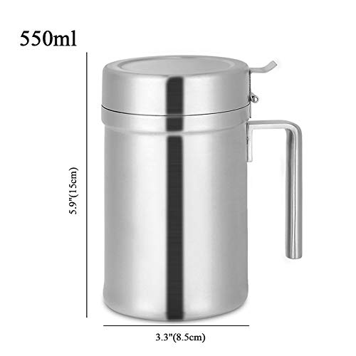 Olive Oil Can Stainless Steel Oil Dispenser Pot Leak Proof Edible Oil Salad Dressing Storage with Lid for Kitchen Cooking Restaurant BBQ (550ml / 18.79oz) by Agyvvt (Image #1)