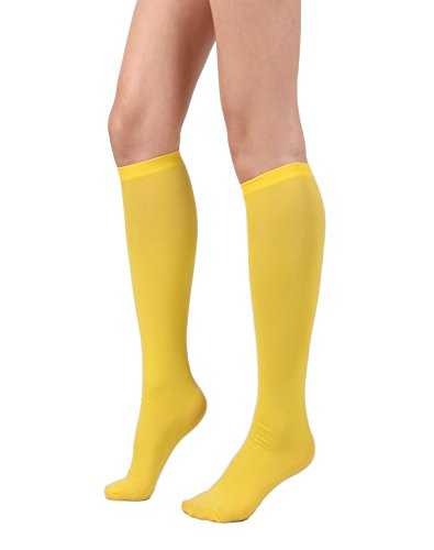 Women's Semi Opaque Knee High Trouser Sock 3pair / 6pair (One Size : XS to M, 3pair-Yellow)