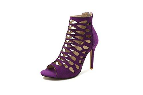 Tacco a Alto Femminile Corte Alto Purple a da Estate sandali Tacco Maniche Donna AIKAKA Primavera B5E8qHwx8