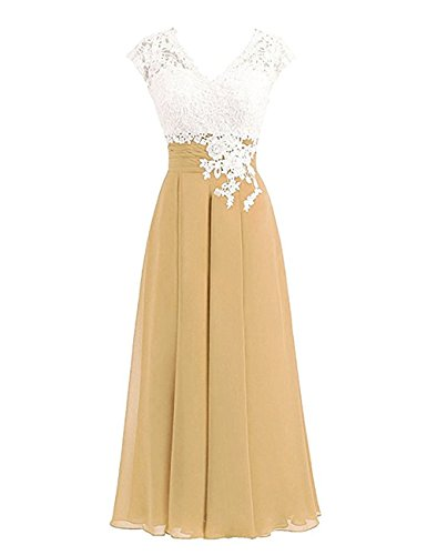 Women's Ivory Lace Top Chiffon Button V-Neck Bridesmaid Dresses with Cap Sleeves Mother of The Bride Dresses (US10, Gold)