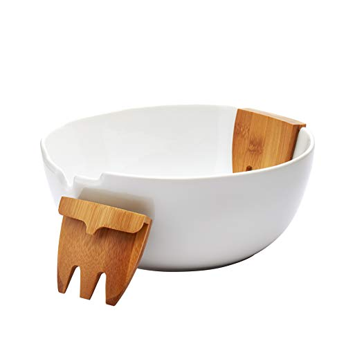 Denmark White and Bamboo Wood Serveware- Parties Catering Entertaining, 3 Piece Salad Bowl Combo