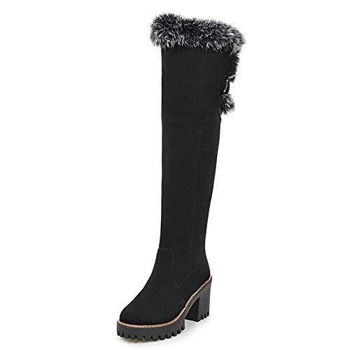 HAOLIEQUAN Größe 34-43 Frauen Overknee High Heel Stiefel Dicken Mit Dicken Stiefel Warmen Dicken Heels Stiefel Warme Schuhe Winter Frau Schuhe 07ea45
