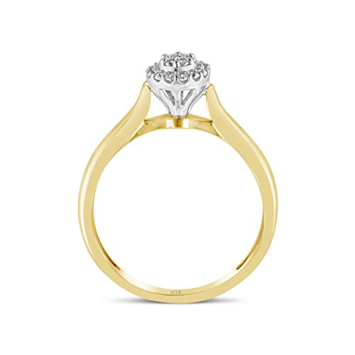 Brilliant Expressions 10K Yellow and White Gold 1/10 Cttw Conflict Free Diamond Round Halo Cluster Engagement Ring (I-J Color, I2-I3 Clarity), Size 8 by Brilliant Expressions (Image #2)