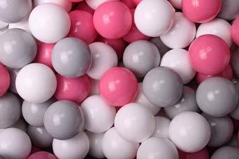 Amazinggirl Bälle für Bällebad Plastikbälle Spielbälle für Kinder Baby im Set 50 grau weiß Hellrosa Plastikkugeln Kinderball Ø 7 cm CE