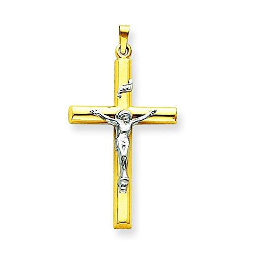 14 carats-Bicolore-Pendentif creux Crucifix INRI-Dimensions :  23,2 x 110 mm-JewelryWeb