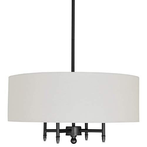 "Stone & Beam Classic 4-Arm Chandelier, 42"" H, Black, White Shade"