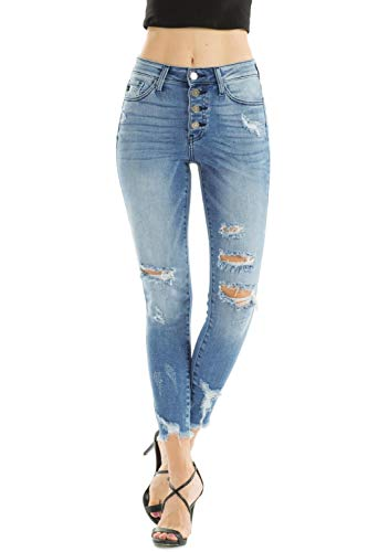 Kan Can Jeans Button Fly High Rise Distressed Ripped Medium Wash Skinny Jeans KC9129M (30)