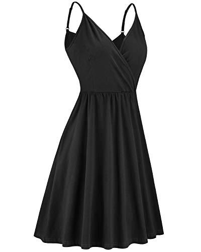 VOTEPRETTY Women's V-Neck Spaghetti Strap Dress Summer Casual Swing Sundress with Pockets 2