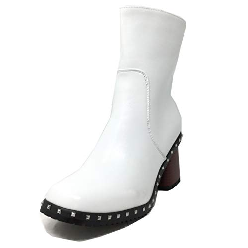 Mode Glam Chaussure Moto Bottine Talon Blanc Rock Motarde Angkorly Haut 8 Clouté Street Cm Motard Bloc Femme 5n1qwYdp