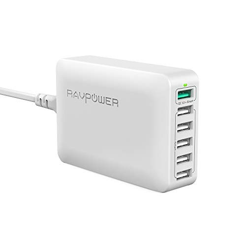USB Quick Charger RAVPower 60W 6-Port Quick Charge 3.0 Fast Charger Desktop Charging Station, Compatible Galaxy S8 S7 S6 Edge Note and iSmart Compatible iPhoneXs XS Max XR X 8 7 Plus, iPad and More