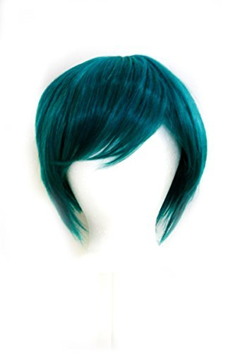 Ken - Holly Green Wig 11'' Short Straight Men's Cut with Long Bangs by Purple Plum Inc.