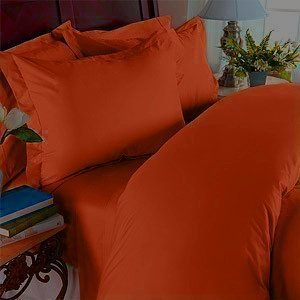 Elegant Comfort 1500 Thread Count Wrinkle Resistant Egyptian Quality 3-Piece Duvet Cover Set, Full/Queen, Rust