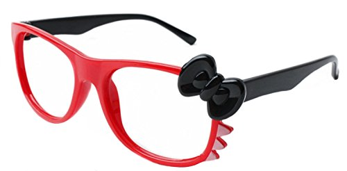 FancyG® Cute Nerd Glass Frame with Bow Tie Cat Eyes Whiskers Eyewear for Kids 3-12 NO LENS - Red/Black with Black - Bow Hello With Glasses Kitty
