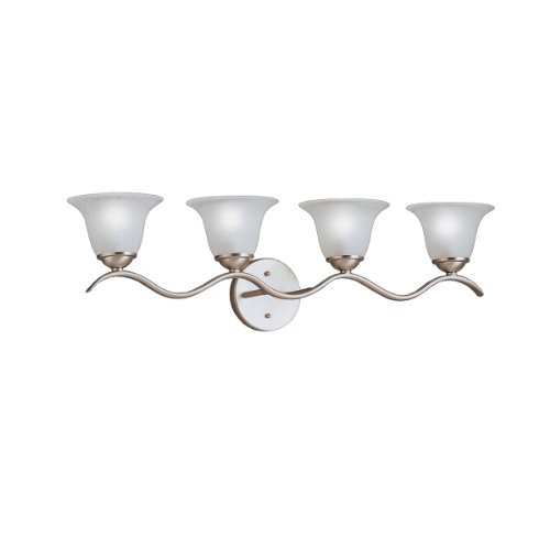 Vanity Dover - KICHLER 6324NI Dover 4LT Vanity Fixture, Brushed Nickel Finish with Etched Seedy Glass by
