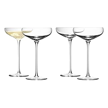 LSA International Wine Champagne Saucer (4 Pack), 10.1 fl. oz., Clear