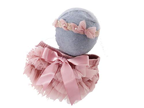 Custom Photo Props, Professional Newborn Photography, Chiffon Diaper Cover with Matching Headband Set, Old -