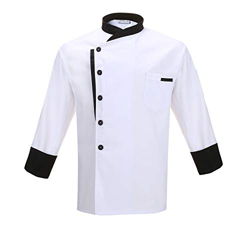 Nanxson Unisex Chef Jacket Hotel/Kitchen Long Sleeve Workwear Uniform Chef Coat White CFM0016