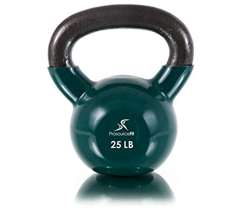 Prosource Fit Vinyl Coated Cast Iron Kettlebells for Full Body Fitness Workouts 25 lb