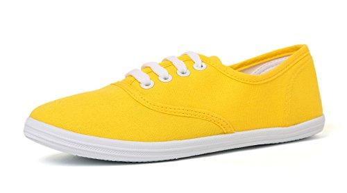 VenusCelia Women's Rainbow Canvas Sneaker (8 M US, Apricot) (Women Sneakers Yellow)