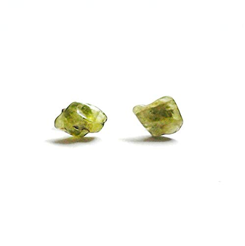 Light Green Peridot Earrings - Raw Crystal Sterling Silver Studs | August Birthstone