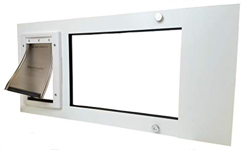 "Patio Pacific Cat Sash with Small Plastic Pet Door (Fits Windows 31 3/4"" - 34 3/4"")"