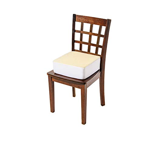 CAREACTIVE Rise with Ease Seat Cushion - Thick Firm Chair Cushion Booster - Extra Thick Foam Pad for Home, Patio, Office and Car Seats - Extra Supportive Lift - 14 X 14 X 5 (Sherpa Cream)