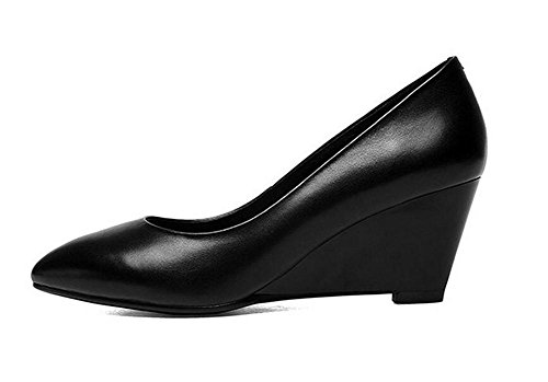 Womens Pointed toe Chaussures confortables talon Wedge faible bouche basse chaussures pour aider les chaussures , black with high 6.5cm , 38