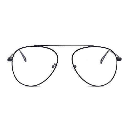 7e55659665 Bueno wreapped ALWAYSUV gafas de aviador moda piloto claras lente gafas  marco de metal