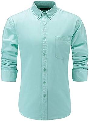 Men Oxford Cotton Slim Fit Dress Shirt Long Sleeve Button-Down Shirt
