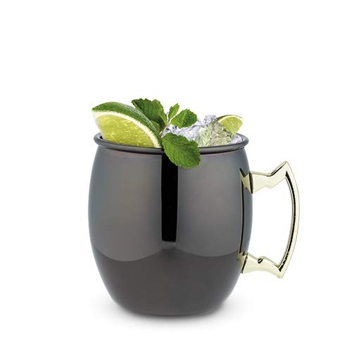 Moscow Mules Mugs 2pc Black With Gold Handle Moscow Mule Gift Cup - Set Of 6 (Sold by Case, Pack of 6)
