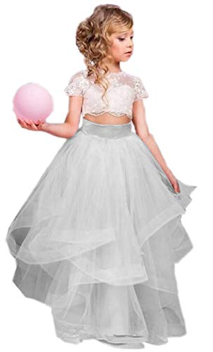 hengyud Two Pieces Ball Gowns Flower Girl Prom Dress Holy First Communion Lace Princess White/Silver