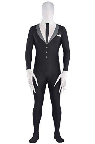 AMSCAN Slender Man Partysuit Halloween Costume for Adults, Medium, with Double Zipper -